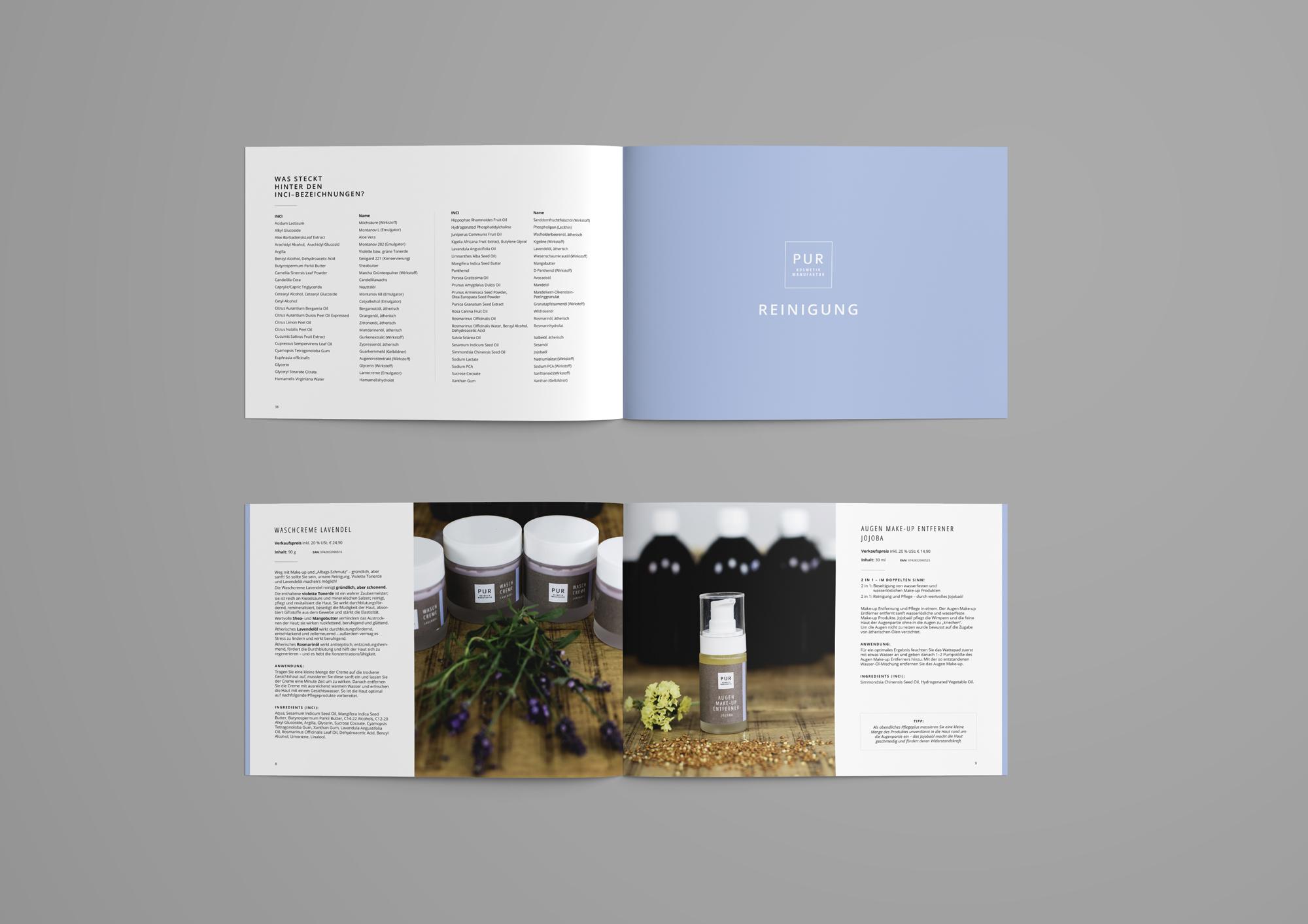 PUR Kosmetikmanufaktur Produktbuch